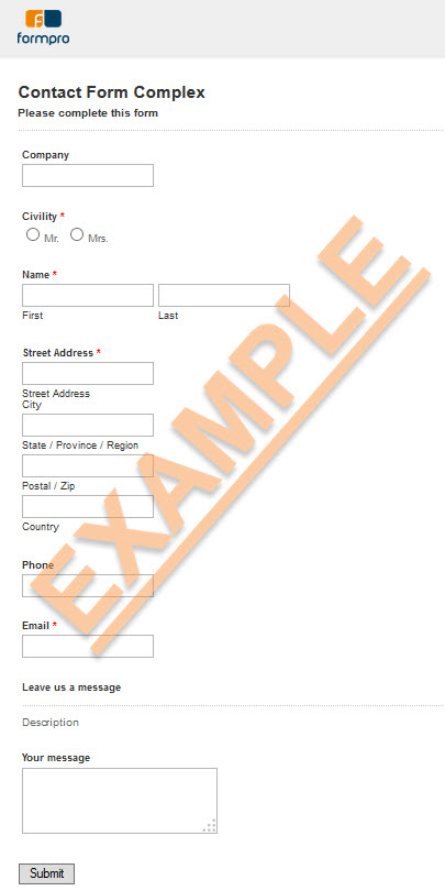 Complex contact form sample by Formpro