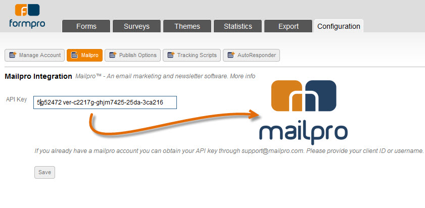 Link your Formpro account with Mailpro emailing software